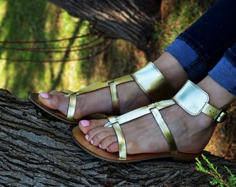 Gold Sandals Gladiator, Ankle Cuff sandals, Leather Sandals, Thong sandals, Ancient Greek sandals, Gold Leather ''Myrto''