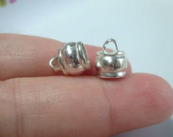 2 pcs, 9.5x8.0 mm, 6.3mm hole ID, Sterling Silver End Cap Clasp, CC-0125