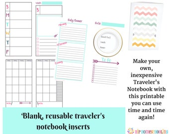 32 Page Traveler's Notebook Inserts - Daily Insert - Weekly Insert - Monthly Planner - Instant Download - Daily Planner - Calendar Insert