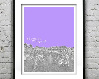 Bluemont Virginia Poster Art City Skyline Print VA Bluemont Vineyard