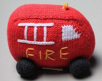 Organic Fire Truck Rattle Baby Toy