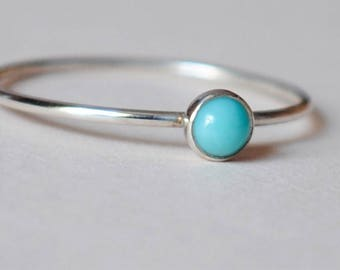 Turquoise Ring / size 4.75 / Sterling Silver/Gemstone/Thin Ring/Tiny Ring/Stacking Ring/Custom Teeny Weenie Simple Stacker Mexican Turquoise