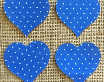 Fabric Iron on Small Blue Polka Dot Hearts - Pack of 4