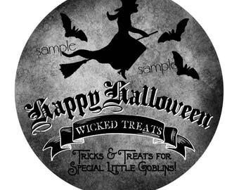 Halloween Stickers,Witch stickers, Personalized Halloween Stickers, Halloween witch,Hallloween labels,halloween favors, witchs broom, bats