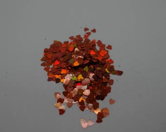 Copper Kettle Holographic Heart Glitter-Solvent Resistant   3mm