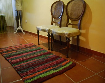 Wool, handmade crochet rug