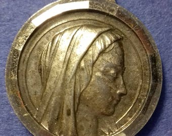 Antique  French Religious miraculous  Medal Virgin Mary /   Lourdes   Antique Pendant Old  Charm