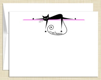 Personalized Stationery - Personalized Stationary - Note Cards - set of 10 folded notecards - LAZY KITTY CAT