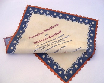 Americana wedding invitation, invitation on a handkerchief, 4th of July wedding, patriotic wedding, rustic country wedding, set of 25