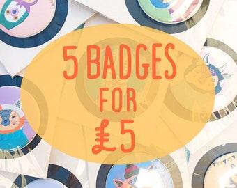 Badge Set, Button Set, Badge Bundle, 5 Badge Set, Animal Badges, Quirky Badges, Geometric Buttons, Funny Badge, Pin Set