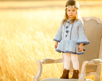 Vintage Blue Ivory Cream Gold  Floral Crown - Floral Halo Floral Boho Headband Newborn Photo Prop Shabby Chic