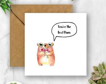 You're the Best Mum Bear Card, Mum Card, Card for Mum, Mother's Day Card, Card for Mother's Day, Mum Birthday Card, Card for Mum Birthday