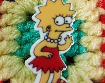 Handmade Lisa Simpson brooch/pin badge - 1990s