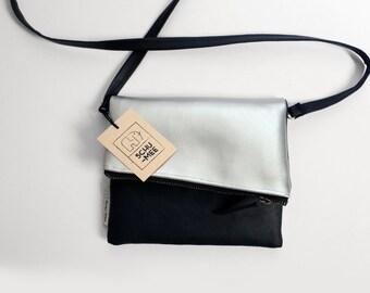 Black Silver Clutch Purse, Small Vegan Bag, Foldover Clutch, Handbag, Vegan Clutch, Evening bag, Zippered Clutch, Foldover Purse, Women Bag