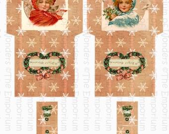 Vintage Christmas Tea Time - Digital Printable Tea Bags Envelopes -  Digital Collage Sheet - Tea Bag Holder -