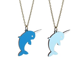 Narwhal Necklace - Handmade - Laser Cut