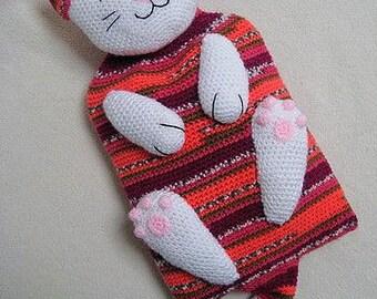 Cat Hot Water Bottle Cover Cozy Crochet PATTERN PDF Animal Kitten PJ Pyjama Case