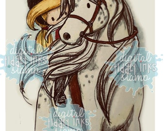 Wryn and Her Horse | Digital Stamp
