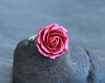 Red flower ring Floral ring Handmade jewelry Polymer clay ring Adjustable silver ring Rose ring Giftfor woman Gift for her Unique jewelry