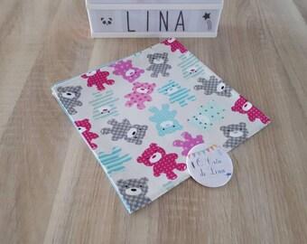 Napkin fabric customization name bear.