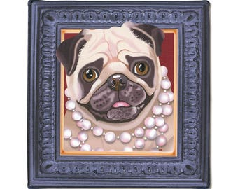 "Pug Art Print on Canvas - Beige & Dark Brown - Pug in a Frame - Pug Art - 8"" x 8"""