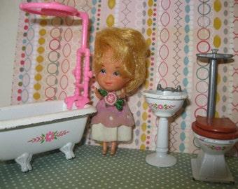 Vintage Mattel's 80s Bathroom Set for Dollhouse The Littles