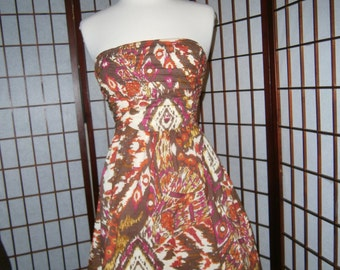Womens Strapless Dress - Short -Batik