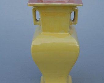 """Yellow Flower vase, signed, 8"""" tall"""