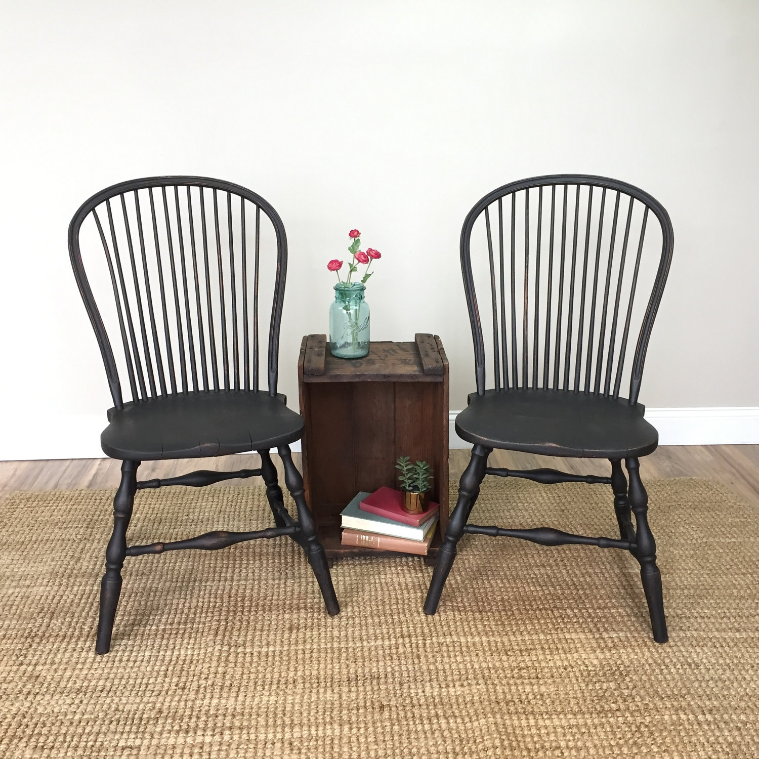 Black Windsor Chairs - Farmhouse Dining Chairs - Antique Wooden Chairs -  Spindle Chair - Country Cottage Furniture - Fixer Upper Style - Black Windsor Chairs - Farmhouse Dining Chairs - Antique Wooden
