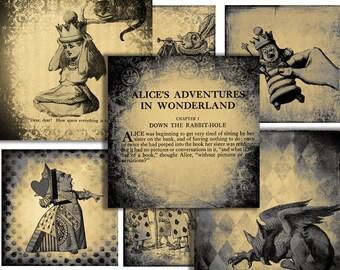 Alice In Wonderland digital paper pack scrapbook paper instant download 12 x 12 grunge collage sheet for scrapbooking journaling and craft