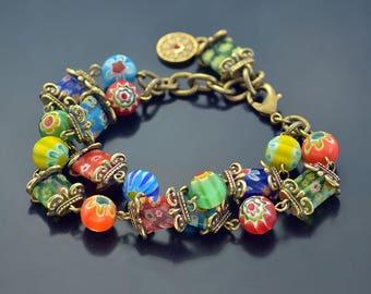 Millefiori Glass Retro Squares Bracelet, Murano Glass Jewelry, Rainbow Bracelet, Festival Jewelry, Millefiori Jewelry, Boho Bracelet BR223