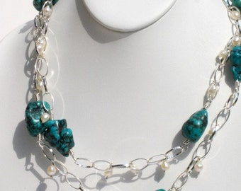 Asian Treasure, handmade Chinese turquoise nuggets, freshwater pearls and sterling silver link, wire wrapped necklace