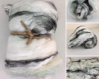 Mint Green Fiber Art Batt, Textured Art Batt, Sparkle Art Batt, Black & White Fiber, Spinning Fiber, Felting Fiber, Roving, Pastel Art Batt
