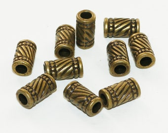 10 Bronze Tone Large Hole Tube Beads 11x6mm