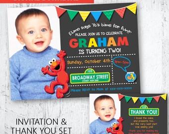 Elmo Photo Invitation and matching Thank you set. Elmo Printable Invitation and Thank You. Sesame Street Invitation and Thank You. Dorothy