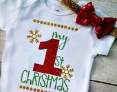 Christmas Bodysuit, Red Green Gold, 1st Christmas Outfit, Christmas Outfit