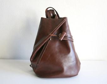 Italian Leather Sling Backpack