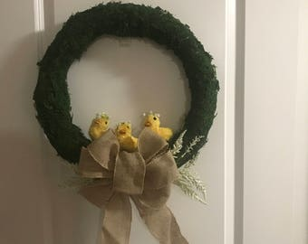 Easter baby chicks front door wreath