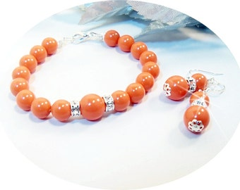 Coral Bridesmaid Jewelry, Bracelet and Earrings, Bridal Accessories, Coral, Orange Jewelry, Coral Jewelry, Coral Bracelet, Coral Earrings