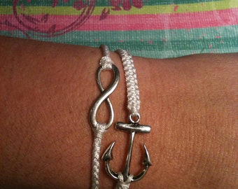 Petite Anchor and Infinity Stack Set Stack Bracelets You Choose Color