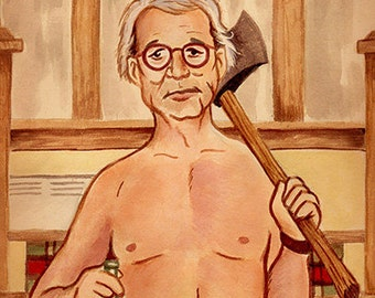 """Bill Murray in Wes Anderson's """"Moonrise Kingdom"""" watercolor - 5""""x7"""" Postcard or 8""""x10"""" Print"""