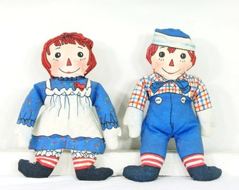Vintage Raggedy Ann and Andy with Camel - Beanbag Doll Set by The Toy Works - Autographed by Kim Gruelle