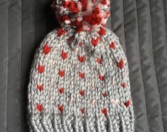 Valentine's Day // Chunky Knit Hat // Adult Chunky Knit Hat // Adult Hat // Tiny Hearts // Pom Pom // Ready to Ship