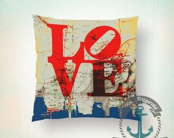 Throw Pillow | Philadelphia Love  | Philly Skyline & Map   | Size and Price via Dropdown