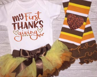 Baby Girl Thanksgiving Outfit |  My First Thanksgiving Baby Girl  | Fall Outfit | Turkey Day Baby | November Baby | Take Home Outfit