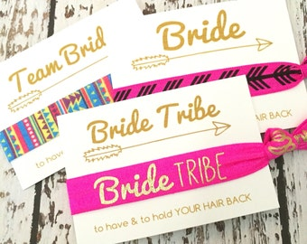 Bachelorette Party Favors | Bride Tribe Hair Tie | Bride Tribe [GoldBrideTribe] Gift Her Bridesmaids-MOH-Survival Kit // To Have and To Hold
