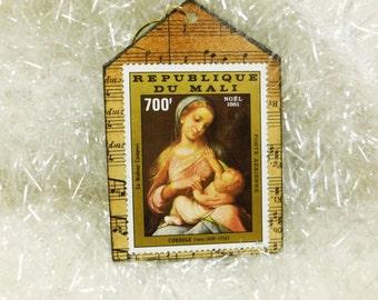Madonna Ornament, Correggio Madonna and Child Shrine, Republique Du Mali Correge Postage Stamp Art
