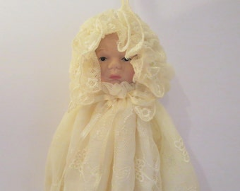 Shabby Chic Style Baby Doll In Lace Gown Hanging Ornament