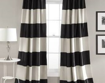Cabana Stripes Black and White, or Nautical Navy Blue Stripes,Cotton Curtains, Window Treatments
