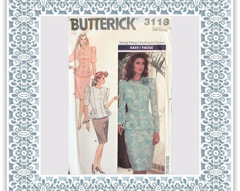 Butterick 3118 (1989) Misses' peplum top and straight skirt (with petite option) - Vintage Uncut Sewing Pattern